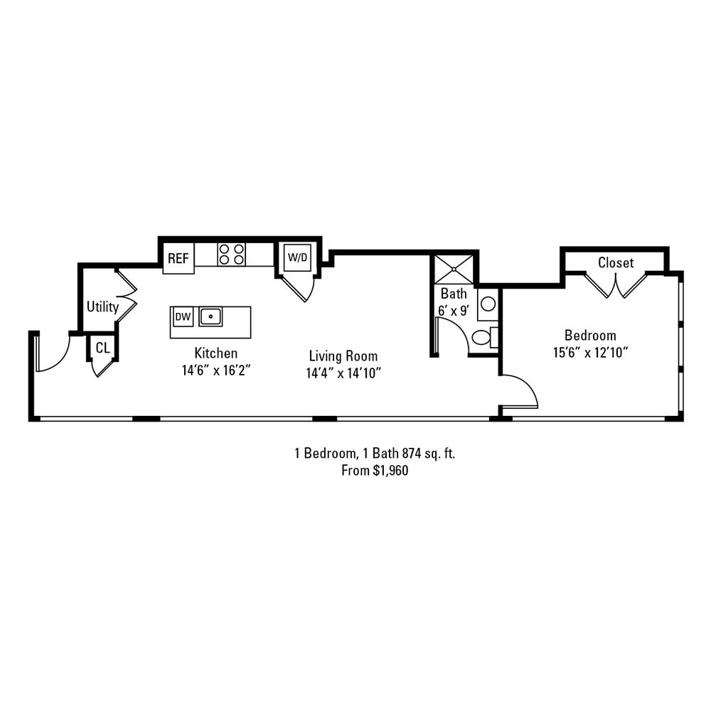 1 Bedroom, 1 Bath 874 sq. ft. apartment at The Linc in Rochester