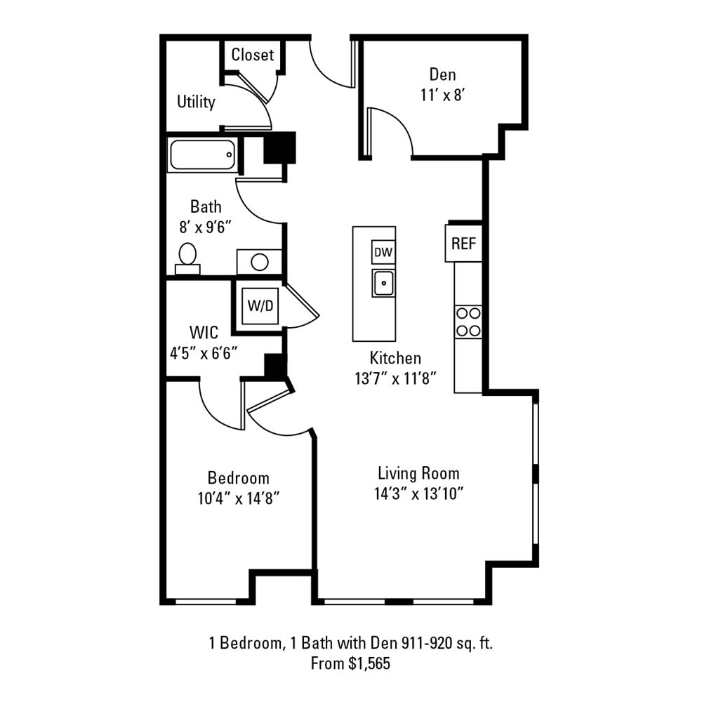 1 Bedroom, 1 Bath with Den 911-920 sq. ft. apartment at The Linc in Rochester, NY