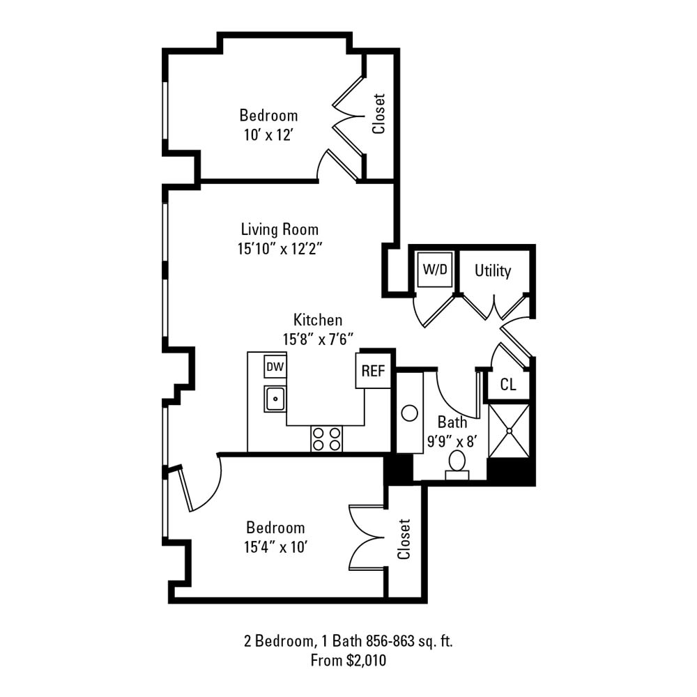 2 Bedroom, 1 Bath 856-863 sq. ft. apartment at The Linc in Rochester, NY