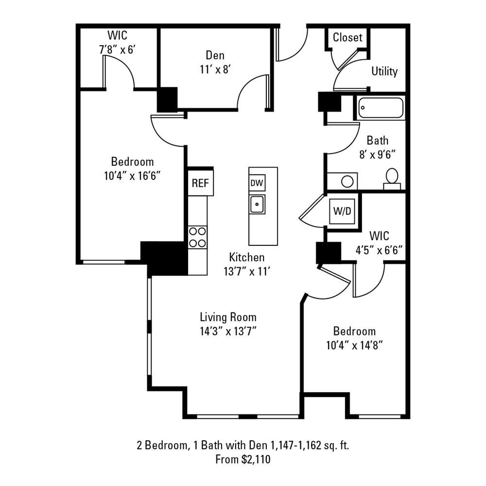 2 Bedroom, 1 Bath with Den 1,147-1,162 sq. ft. apartment at The Linc in Rochester, NY