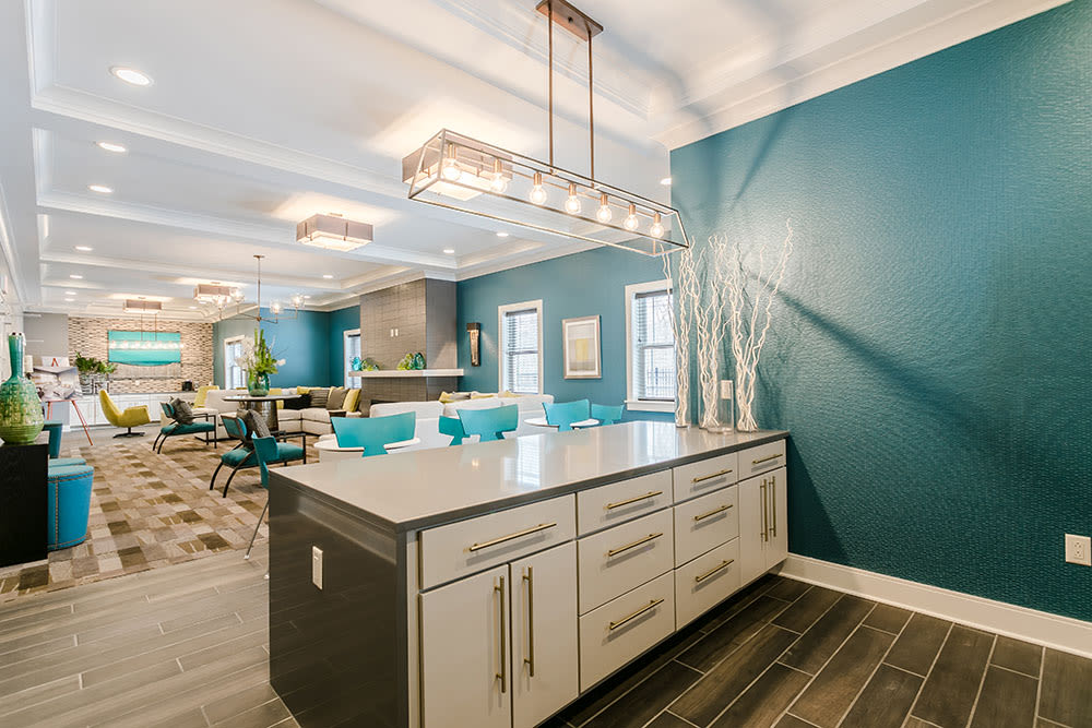 Beautiful Lounge with attached Kitchen at Ellison Heights Apartments in Rochester, NY