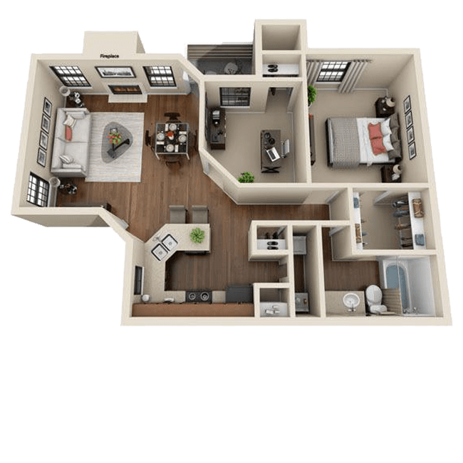 Spacious two bedroom, one bathroom apartment at Mountain View Apartment Homes