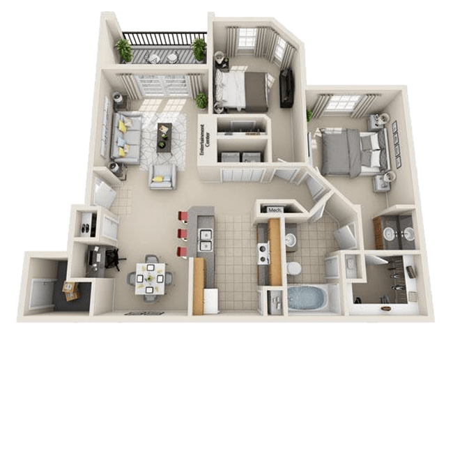 Spacious two bedroom, one bathroom apartment at The Gates at Buffalo Ridge Apartments