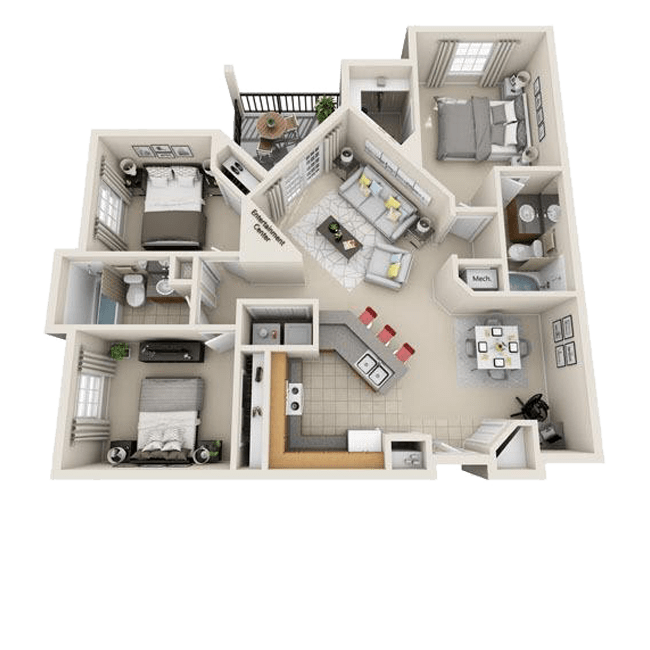 Spacious three bedroom, two bathroom floor plans at The Gates at Buffalo Ridge Apartments