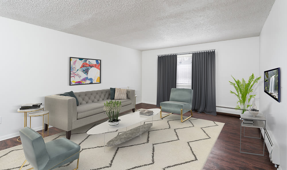 Spacious living room at Hilton Village II Apartments in Hilton