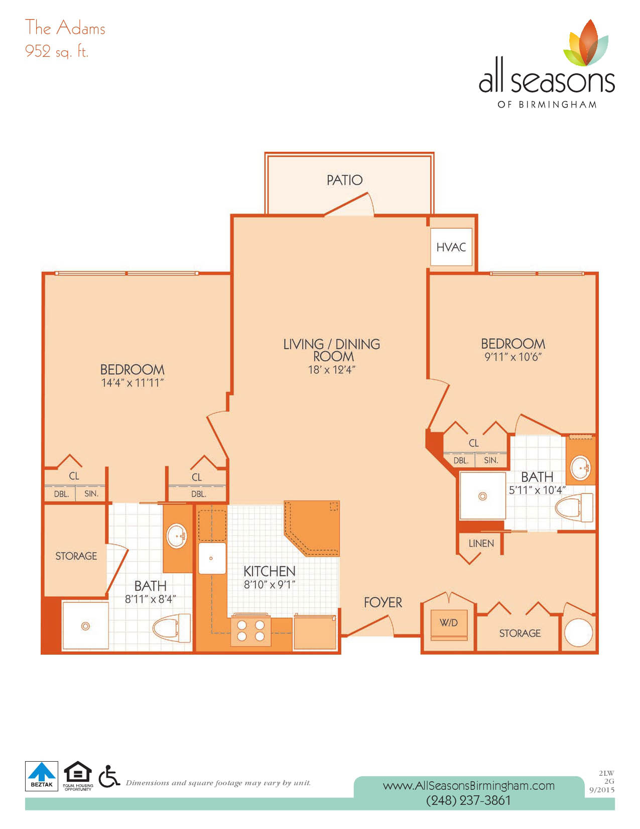 The Adams floor plan at All Seasons of Birmingham
