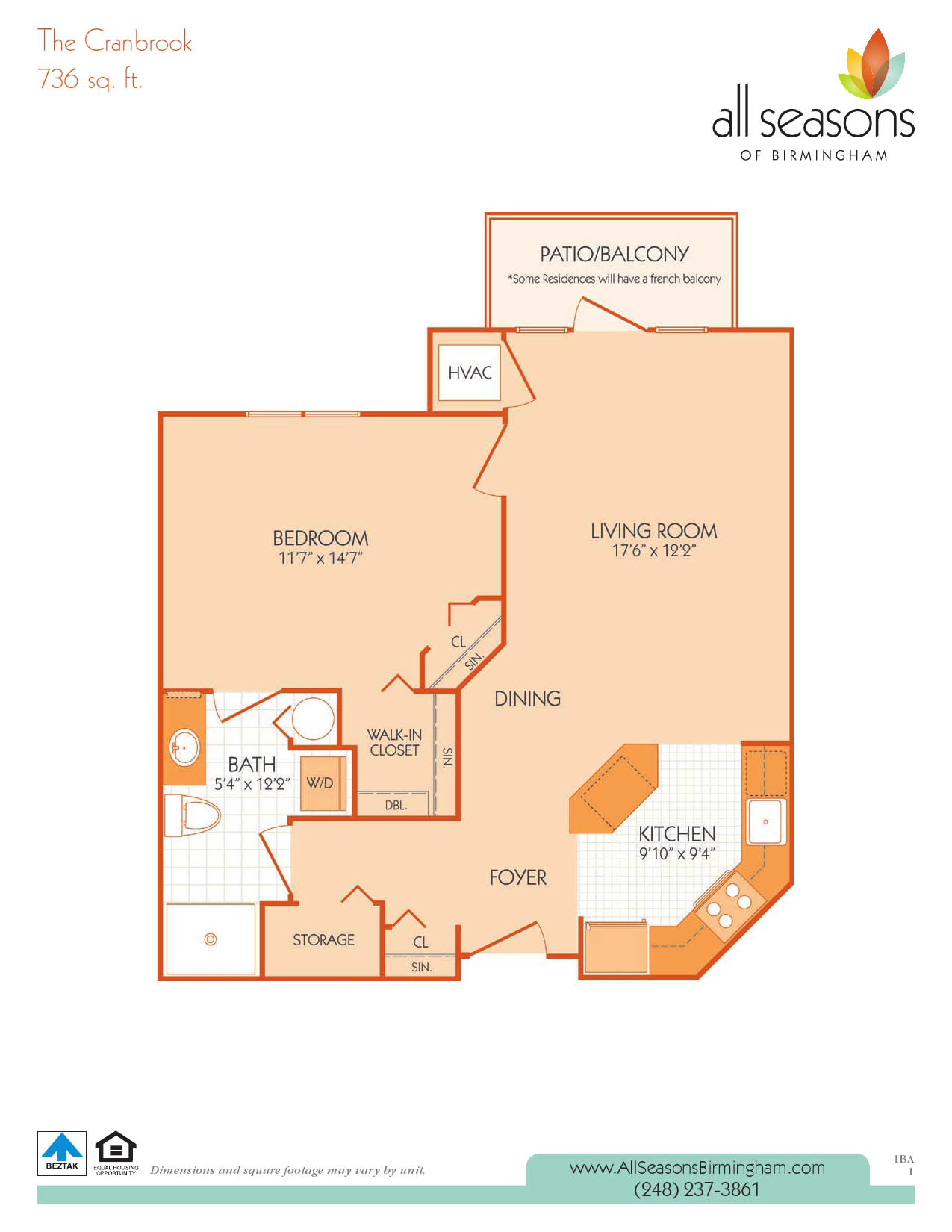 Cranbrook floor plan at All Seasons of Birmingham