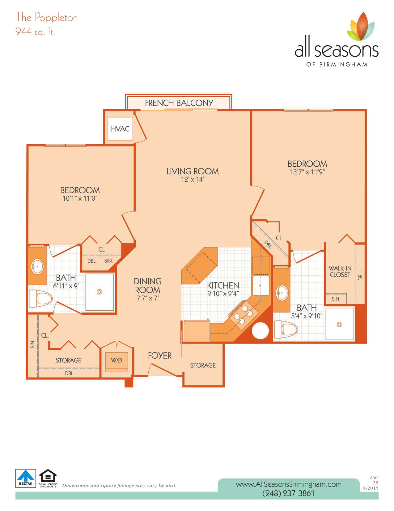 The Poppleton floor plan at All Seasons of Birmingham