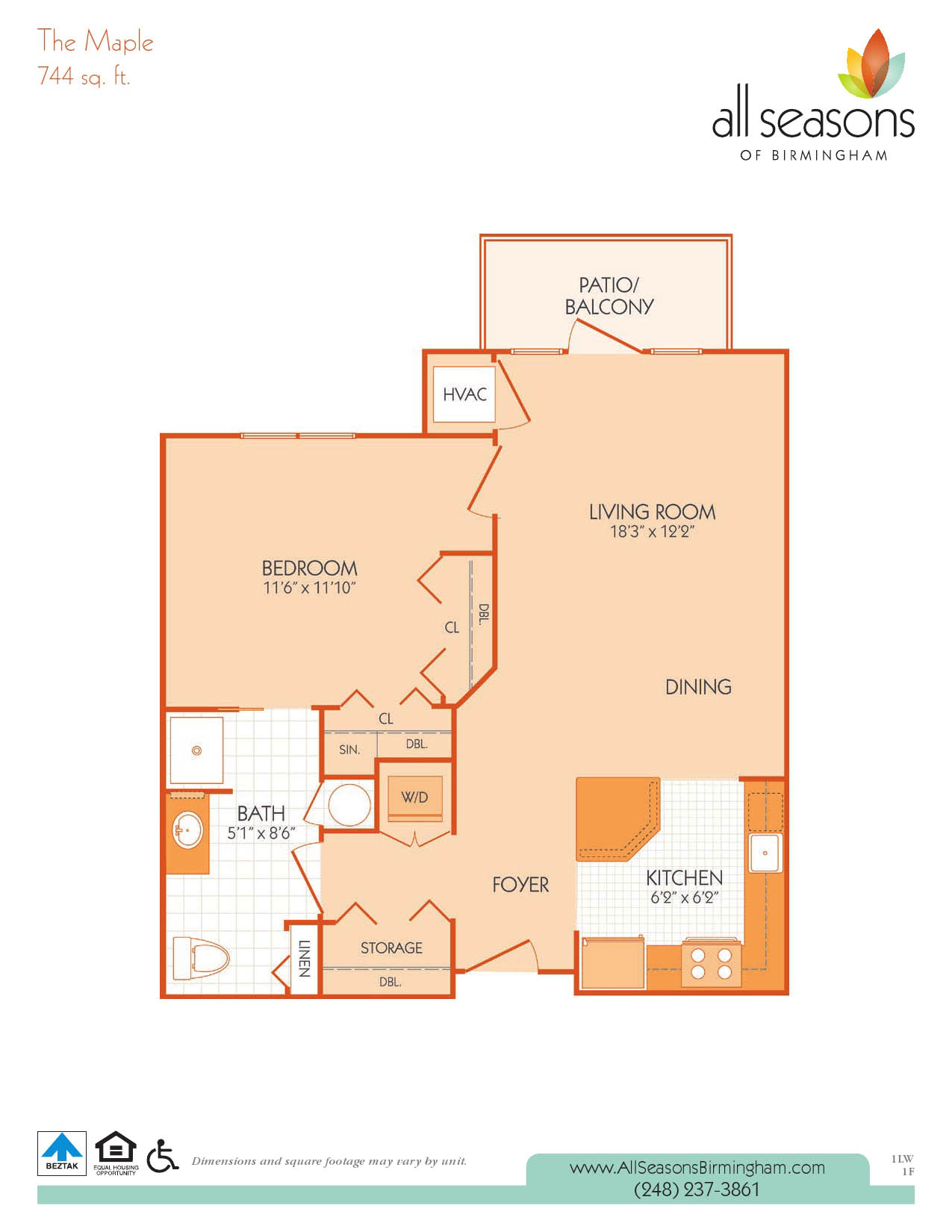 The Maple floor plan at All Seasons of Birmingham