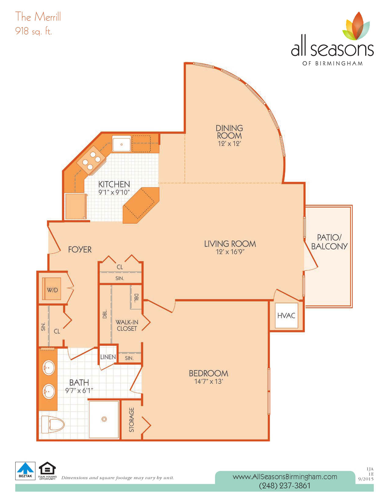 The Merrill floor plan at All Seasons of Birmingham