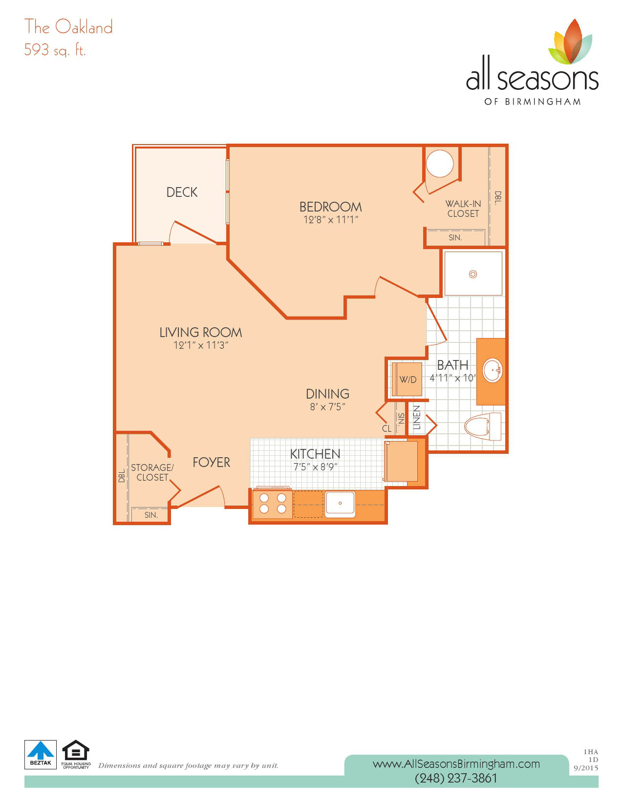 The Oakland floor plan at All Seasons of Birmingham