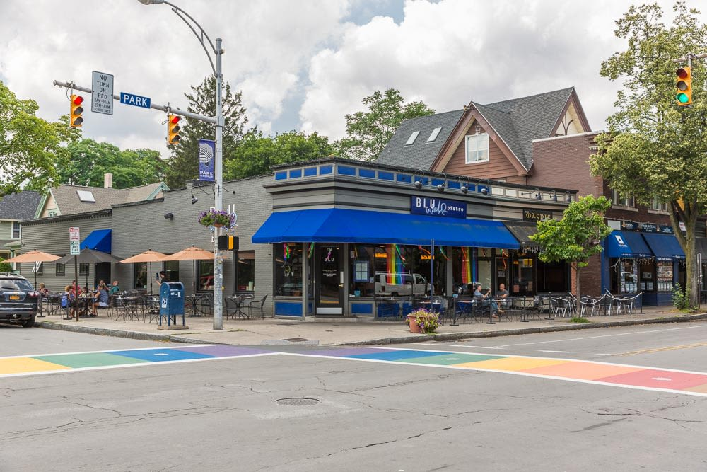 Enjoy one of the many sidewalk cafés along Park Avenue at Barrington Apartments in Rochester, New York