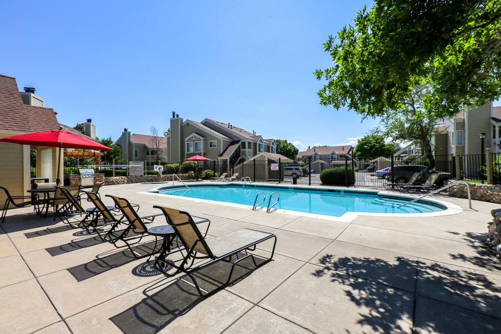 swimming pool at Deerfield Apartments in Denver, CO