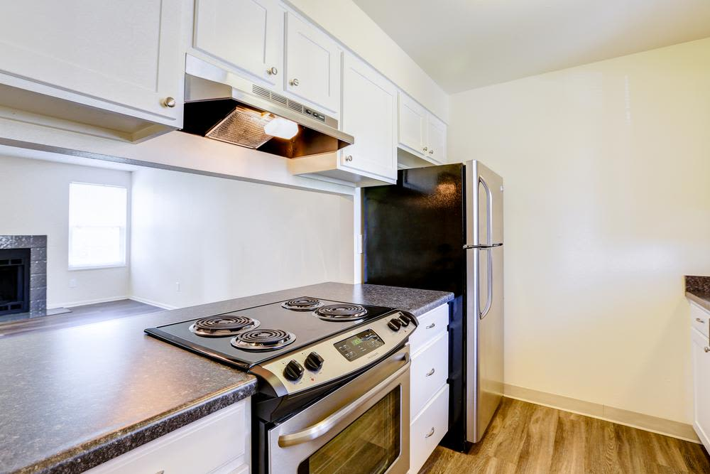 Spacious kitchen at Deerfield Apartments in Denver, CO