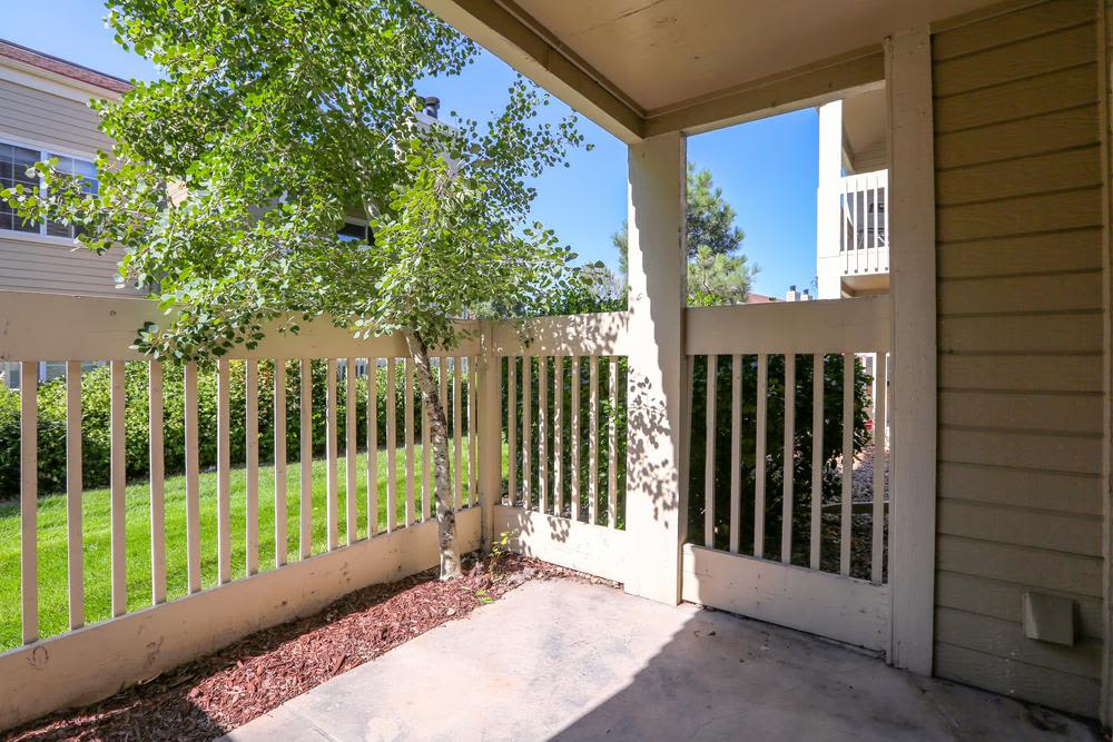 enclosed patio at Deerfield Apartments in Denver, Colorado