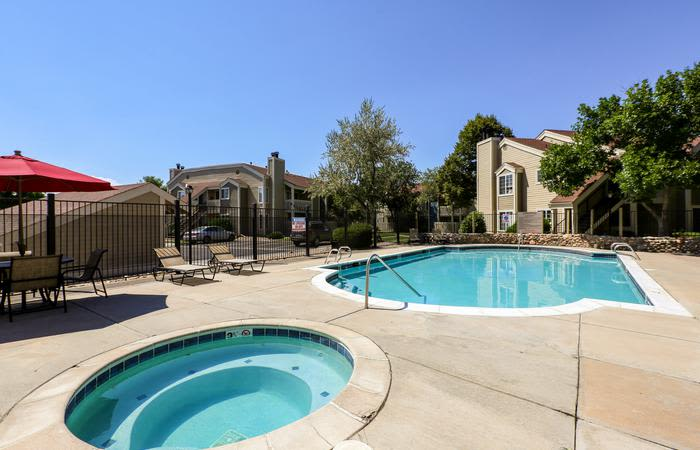 swimming pool at Deerfield Apartments in Denver