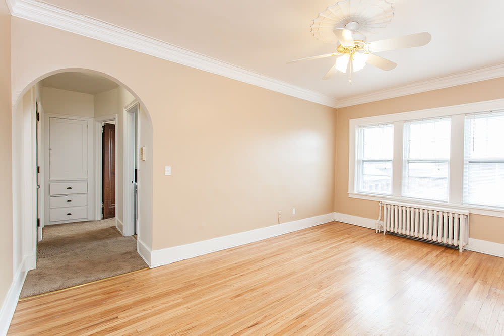 Living room in apartment at Barrington Apartments
