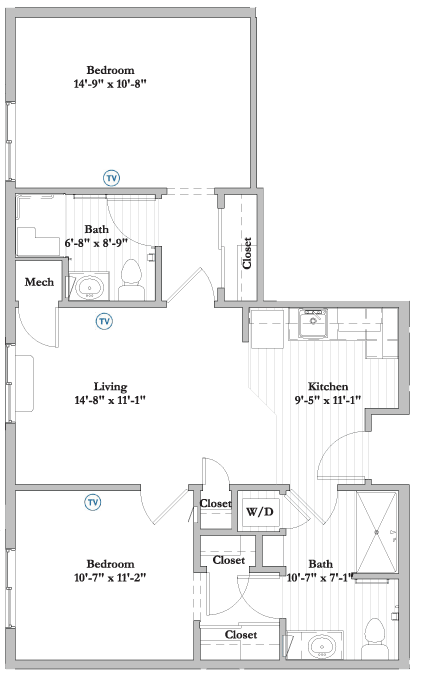S8 2 Bed 2 Bath Assisted Living Floor Plan