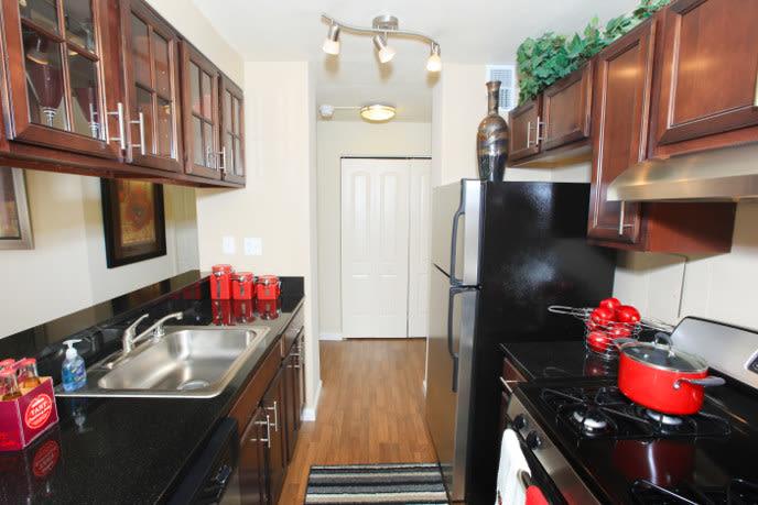Model kitchen at Towson apartments