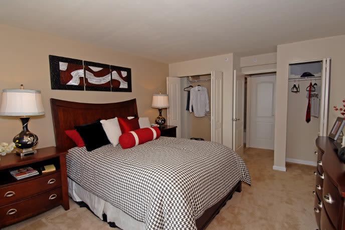 Model bedroom at Towson apartments