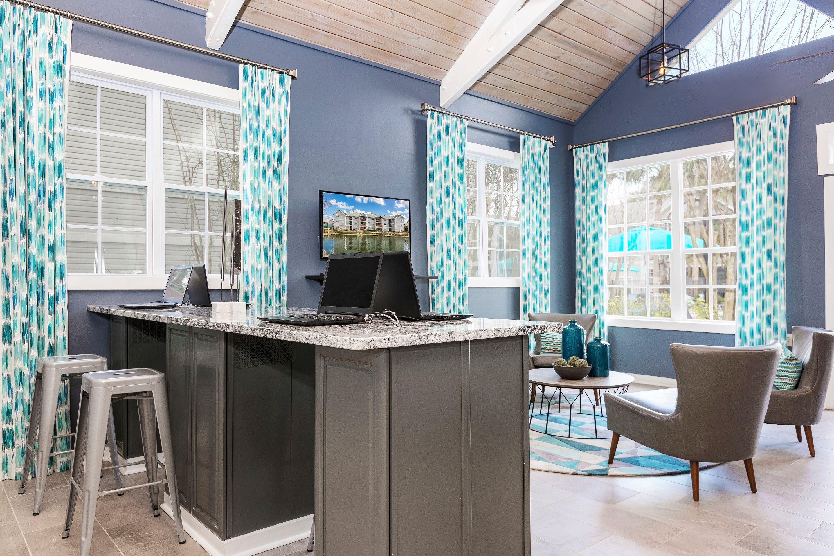Business center with laptops for residents at Reserve at Lake Irene in Casselberry, Florida