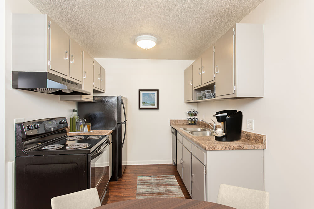 Renovated kitchen at Penfield Village Apartments in Penfield, New York
