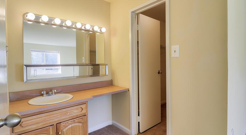 A big mirror inside bathroom in our apartments in Suitland, MD