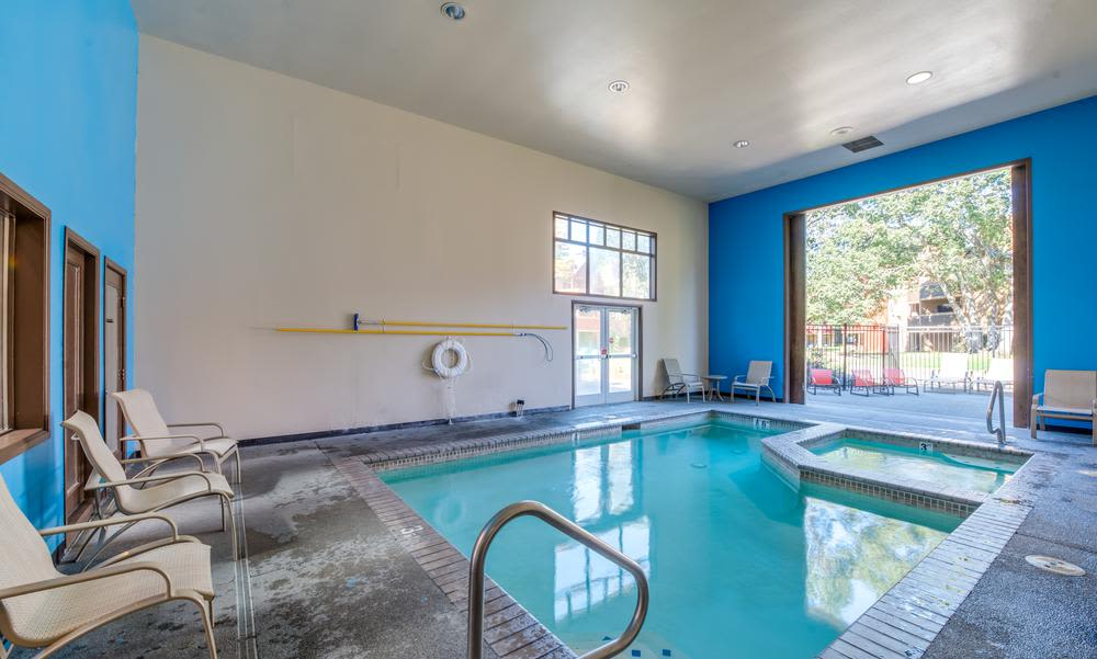 Indoor swimming pool at Village at Seeley Lake in Lakewood, Washington
