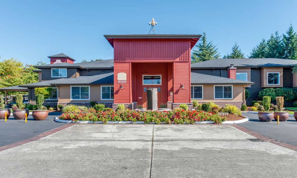 Leasing office exterior at Village at Seeley Lake in Lakewood, Washington