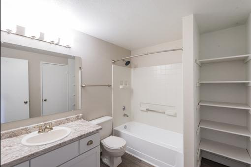 View of the well decorate bathroom - in model home at Village at Seeley Lake