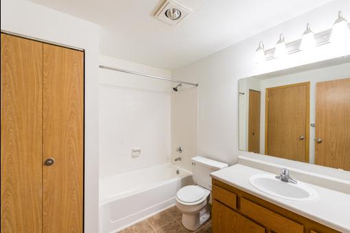 Lovely model bathroom at Village at Seeley Lake in Lakewood, Washington