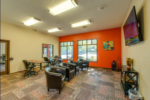 Leasing office area seating at Village at Seeley Lake in Lakewood, Washington