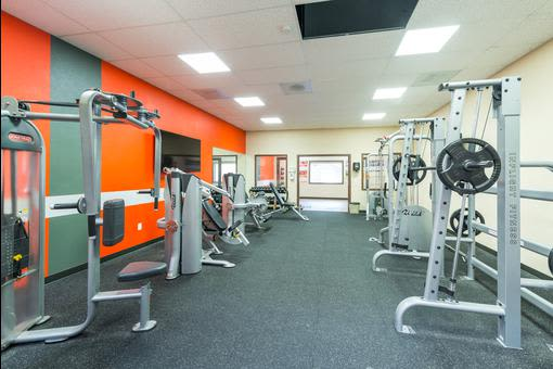Fitness equipment at Village at Seeley Lake in Lakewood, Washington