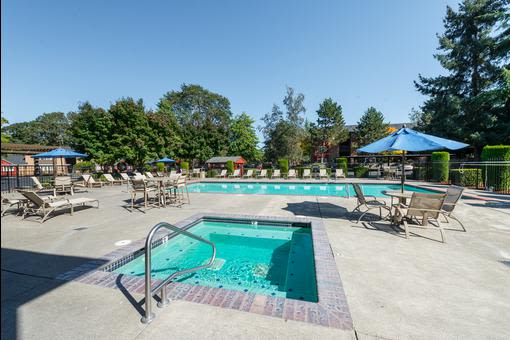 Pool area at Village at Seeley Lake in Lakewood, Washington