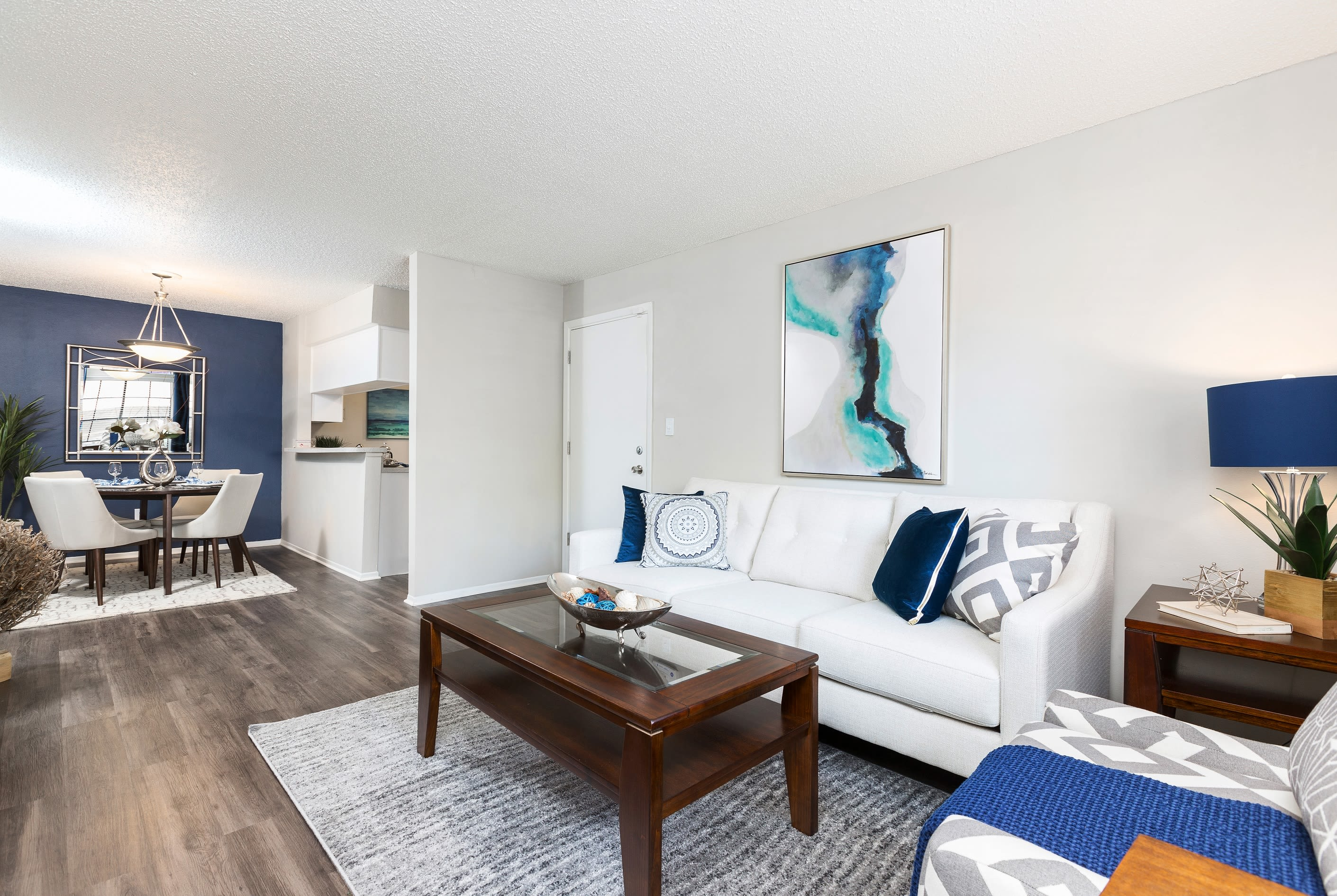 Renovated living room at Avion at Carrollwood in Tampa, Florida