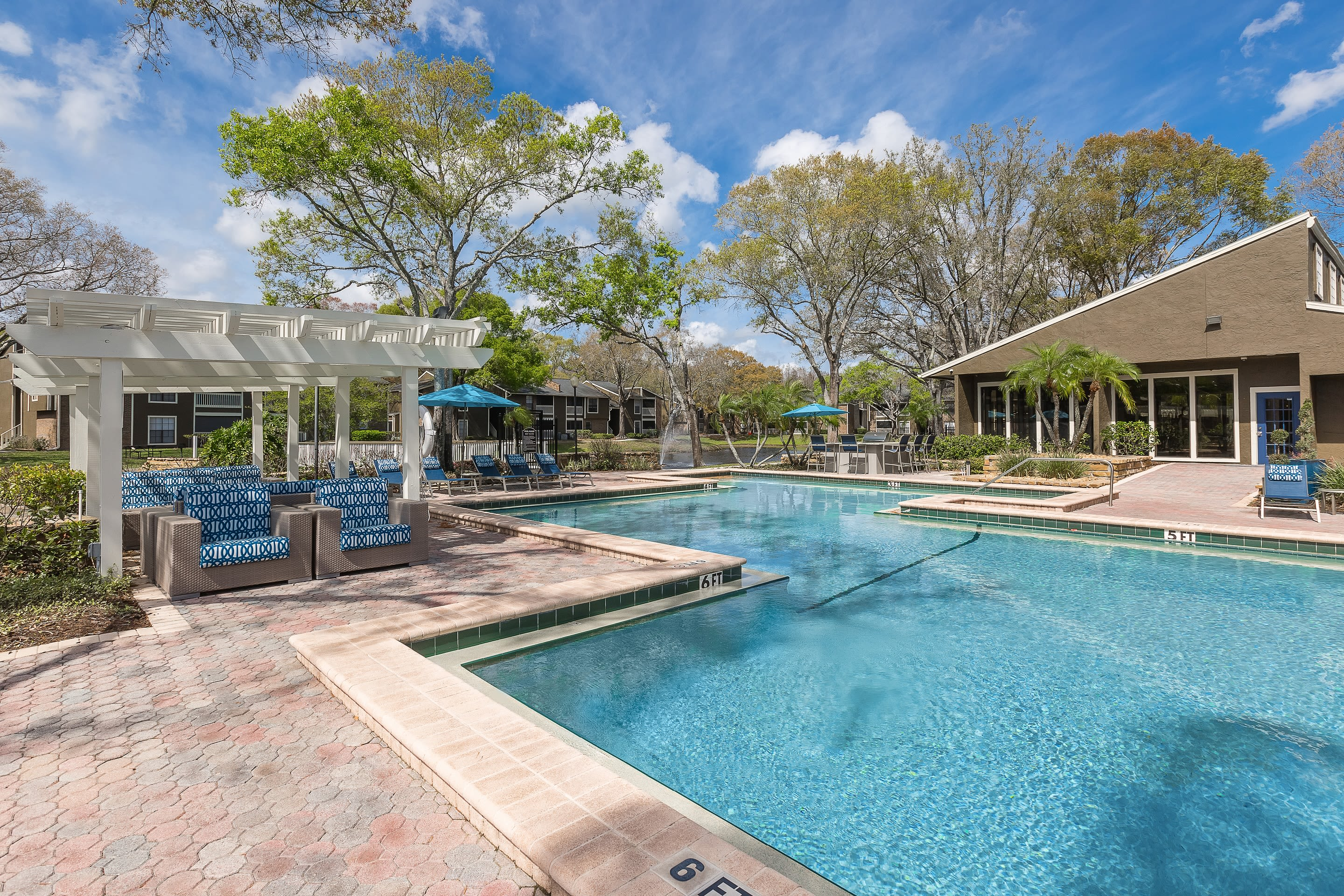 Exterior view of the swimming pool at Avion at Carrollwood in Tampa, Florida