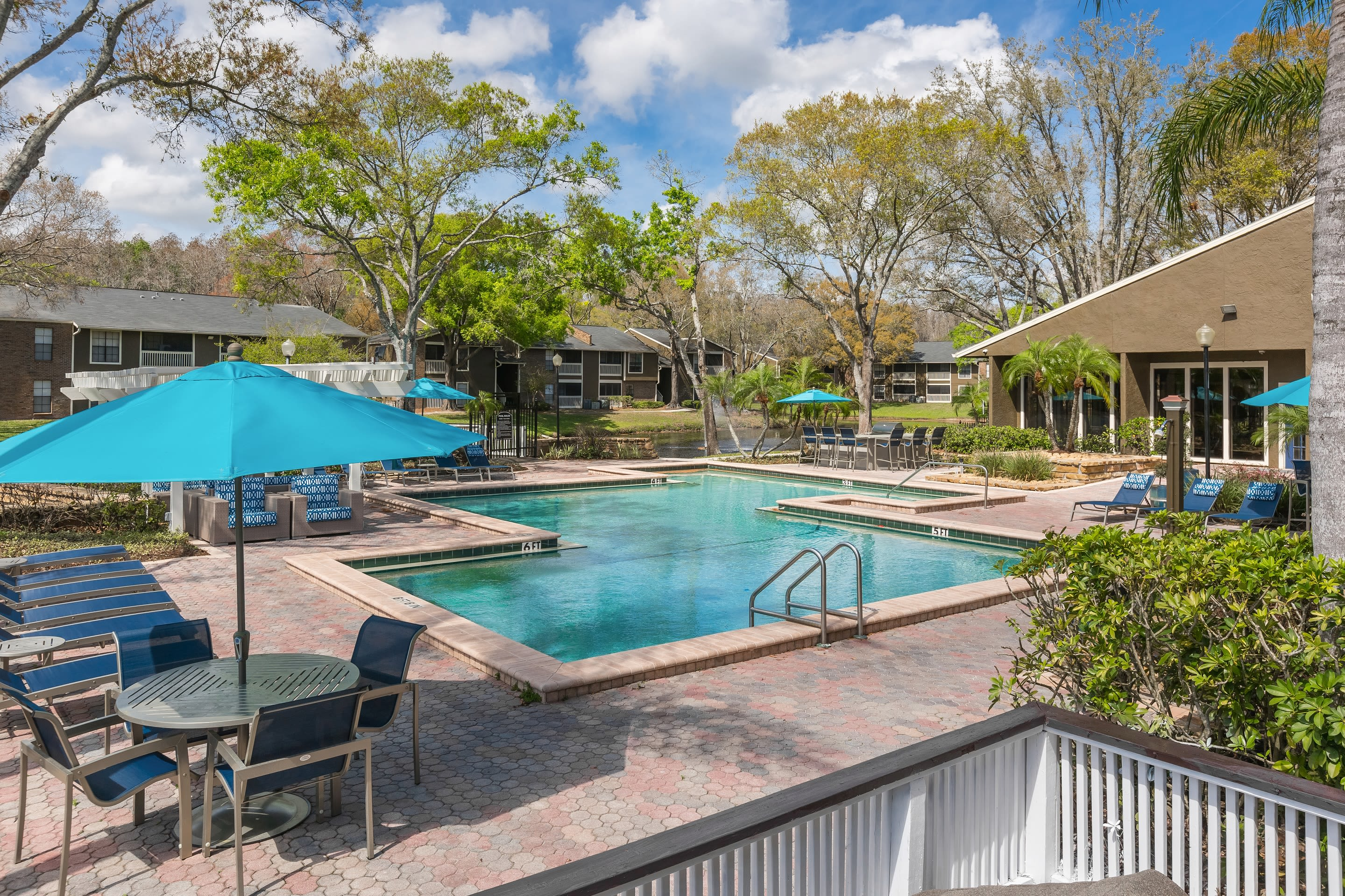 Beautiful poolside view  at Avion at Carrollwood in Tampa, Florida