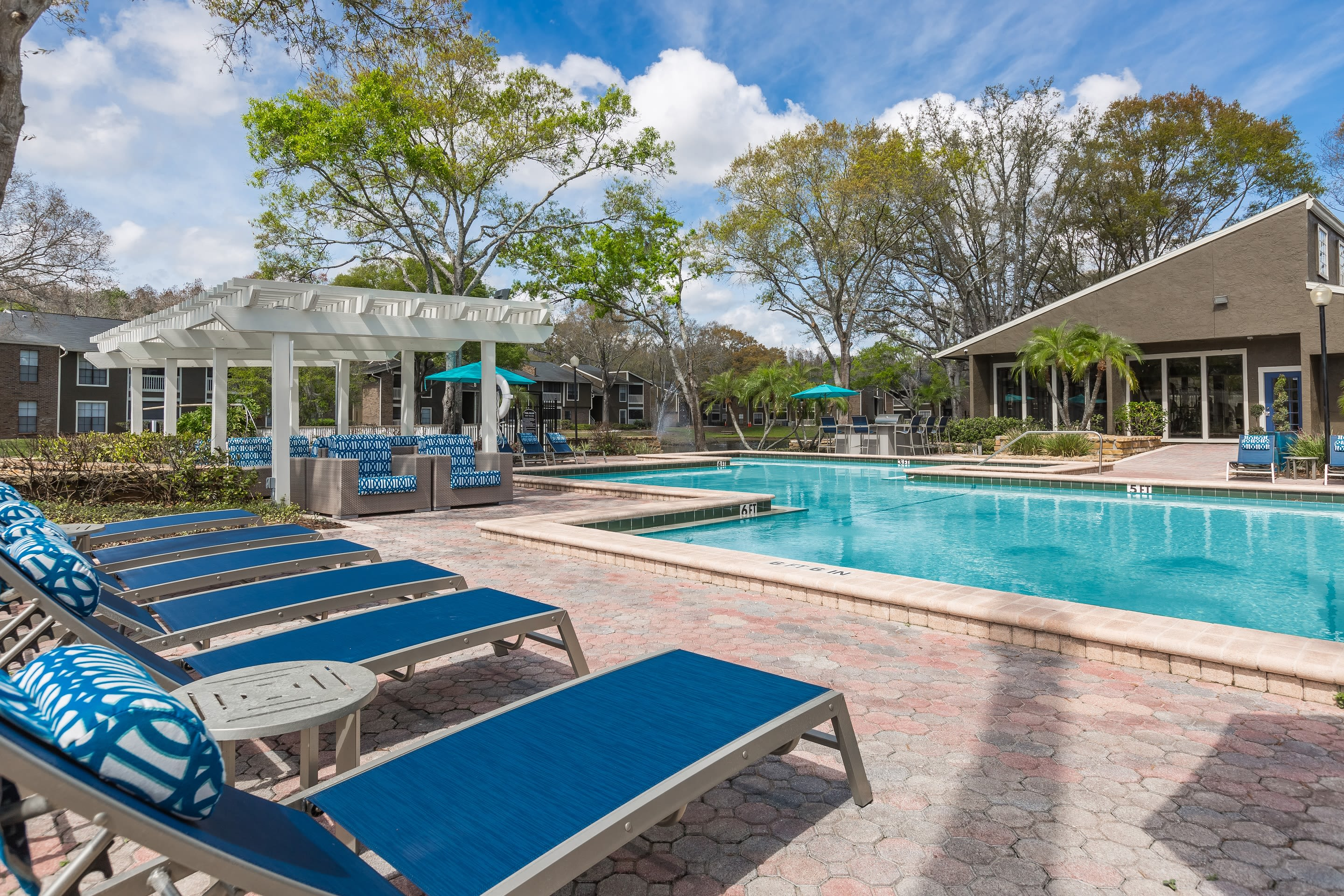 Outside pool at Avion at Carrollwood in Tampa, Florida