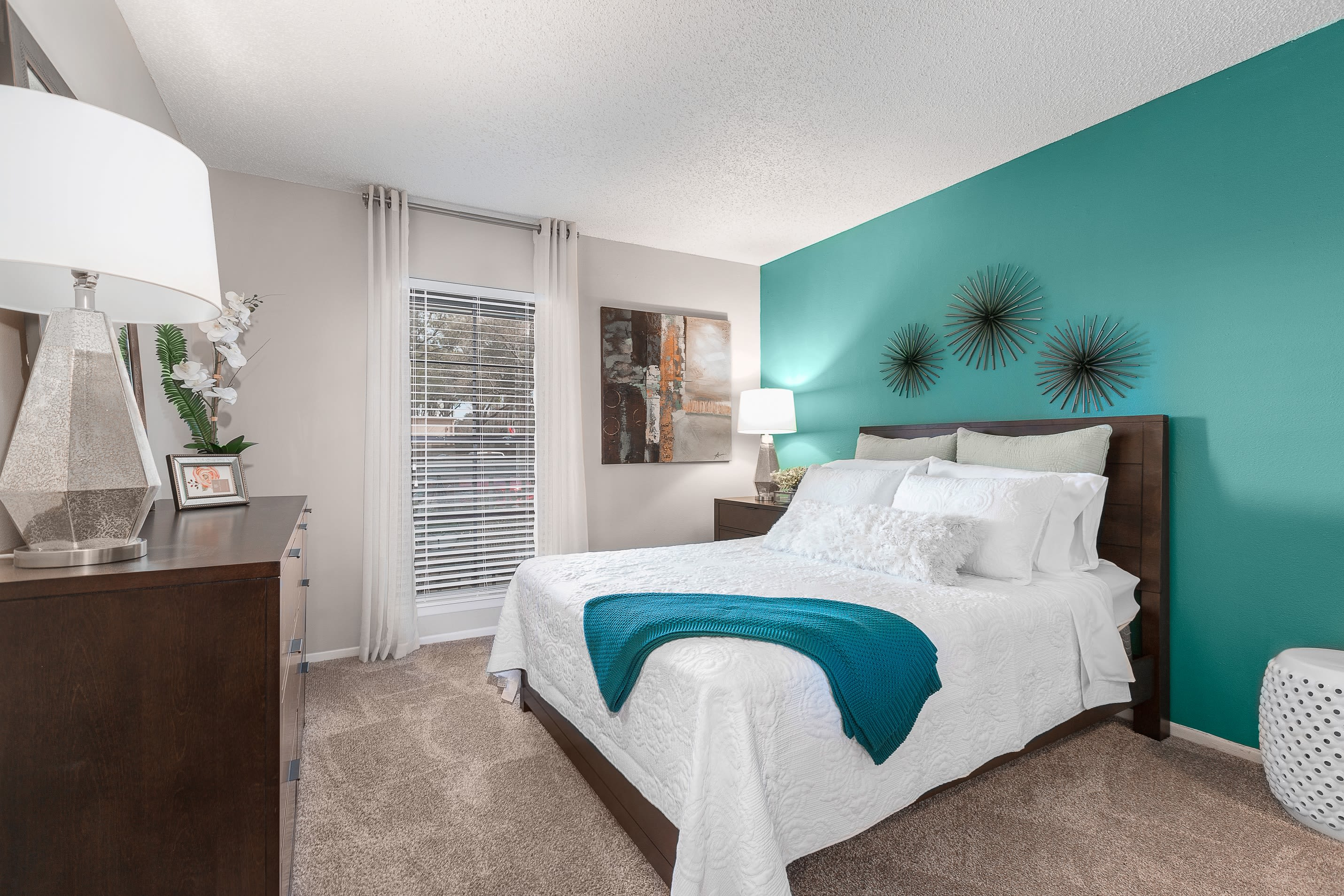 Renovated bedroom at Avion at Carrollwood in Tampa, Florida