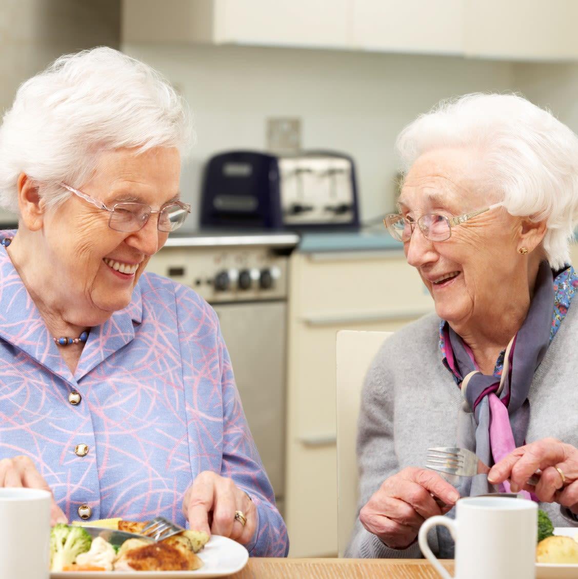 Ladies enjoying lunch and tea