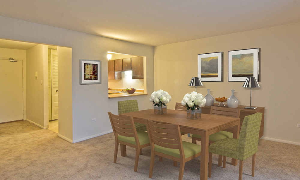 Beautiful and modern dining room at apartments in Richton Park, Illinois