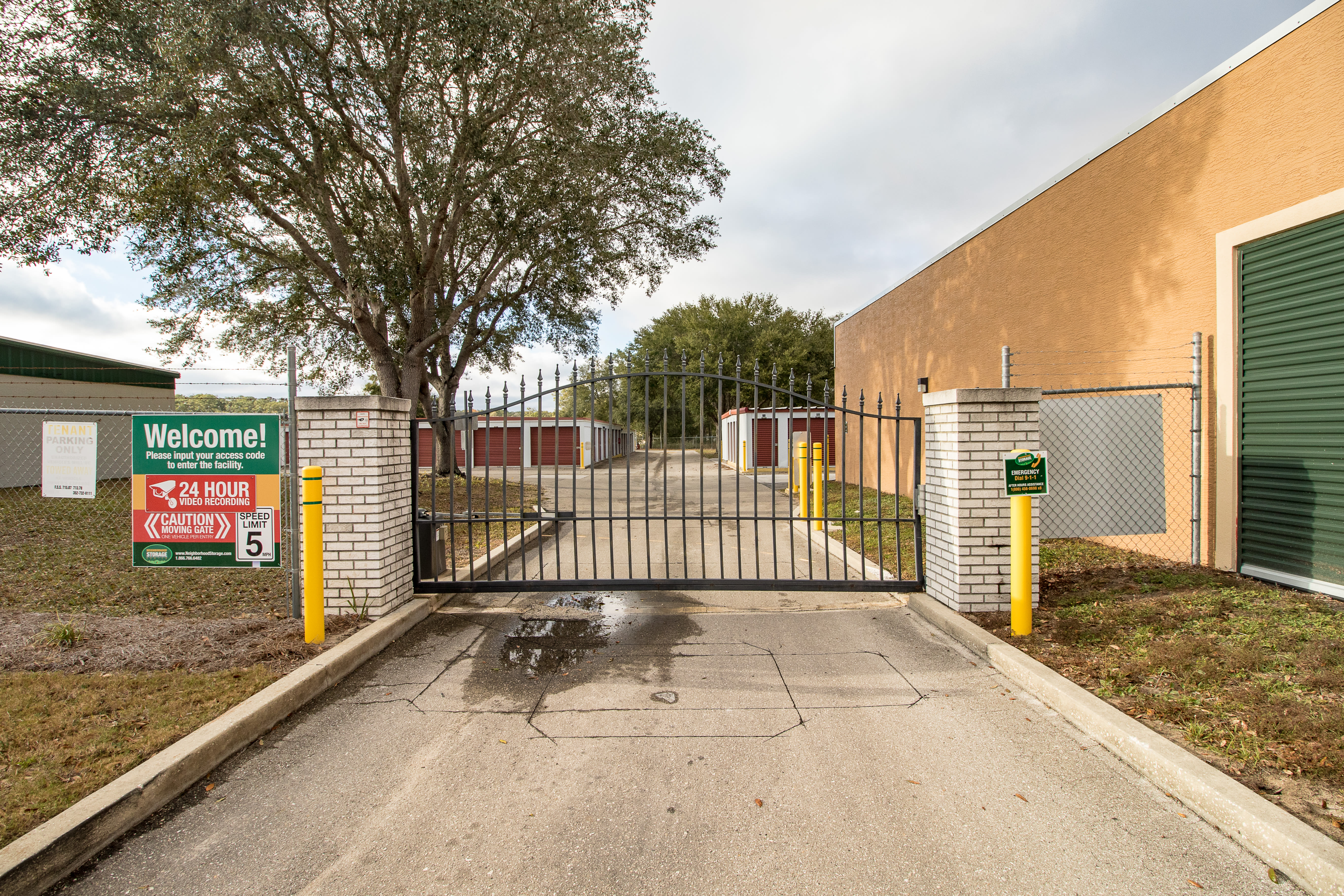 Access gate at storage units in Ocala, Florida