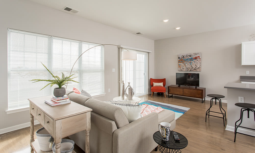 Modern living room at Woodland Acres Townhomes