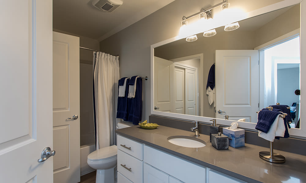 Beautiful bathroom at Woodland Acres Townhomes in Liverpool, New York