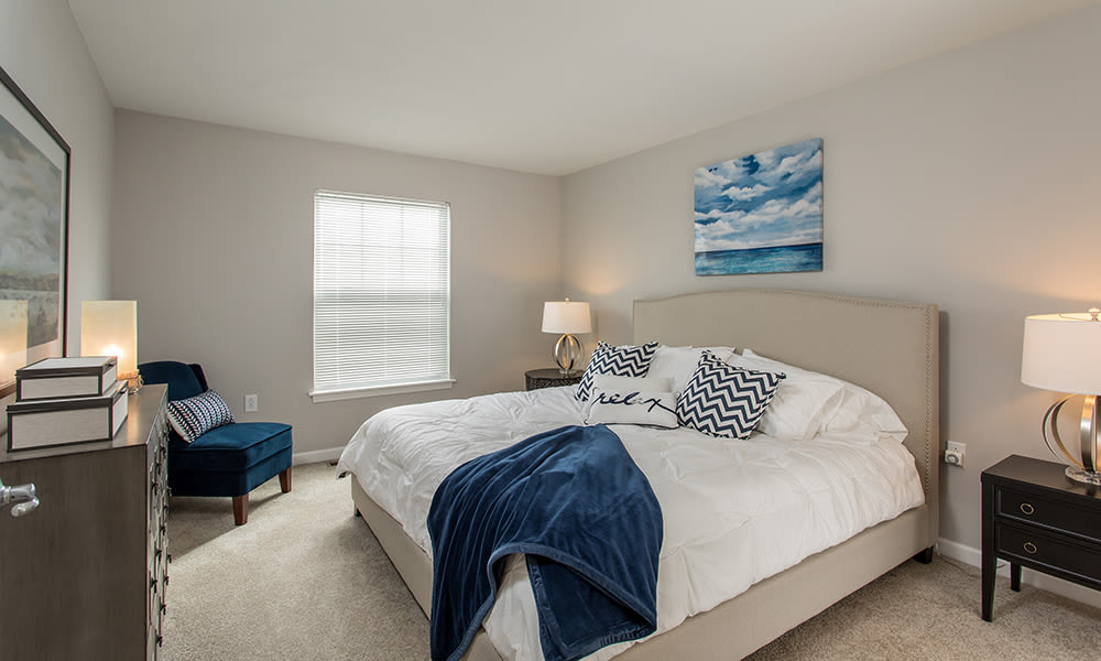 Spacious bedroom at Woodland Acres Townhomes in Liverpool, New York
