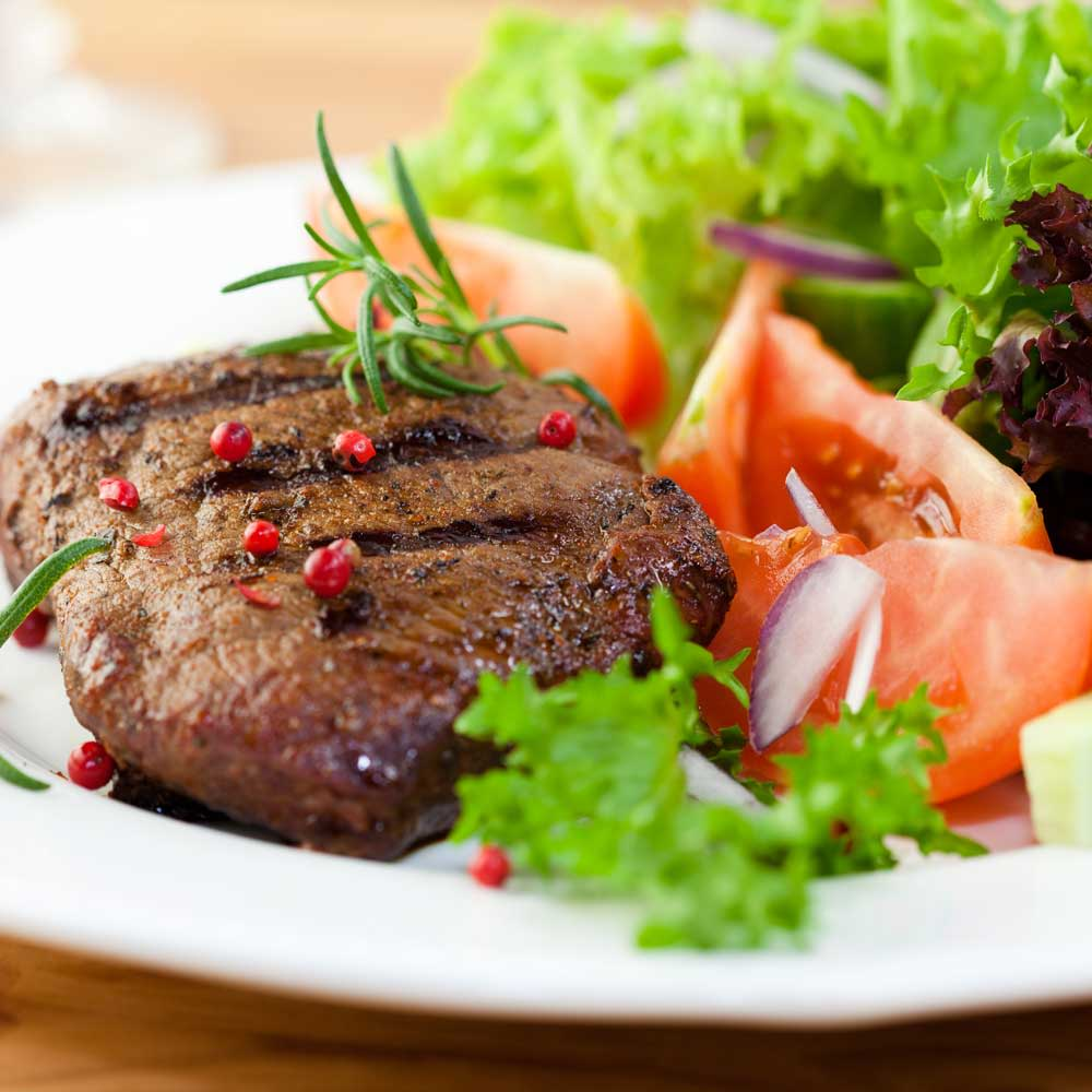 Steak dinner option at Brightwater Senior Living of Linden Ridge in Winnipeg, Manitoba