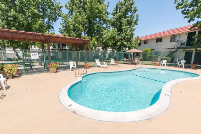 Enjoy apartments with a swimming pool at Buchanan Gardens