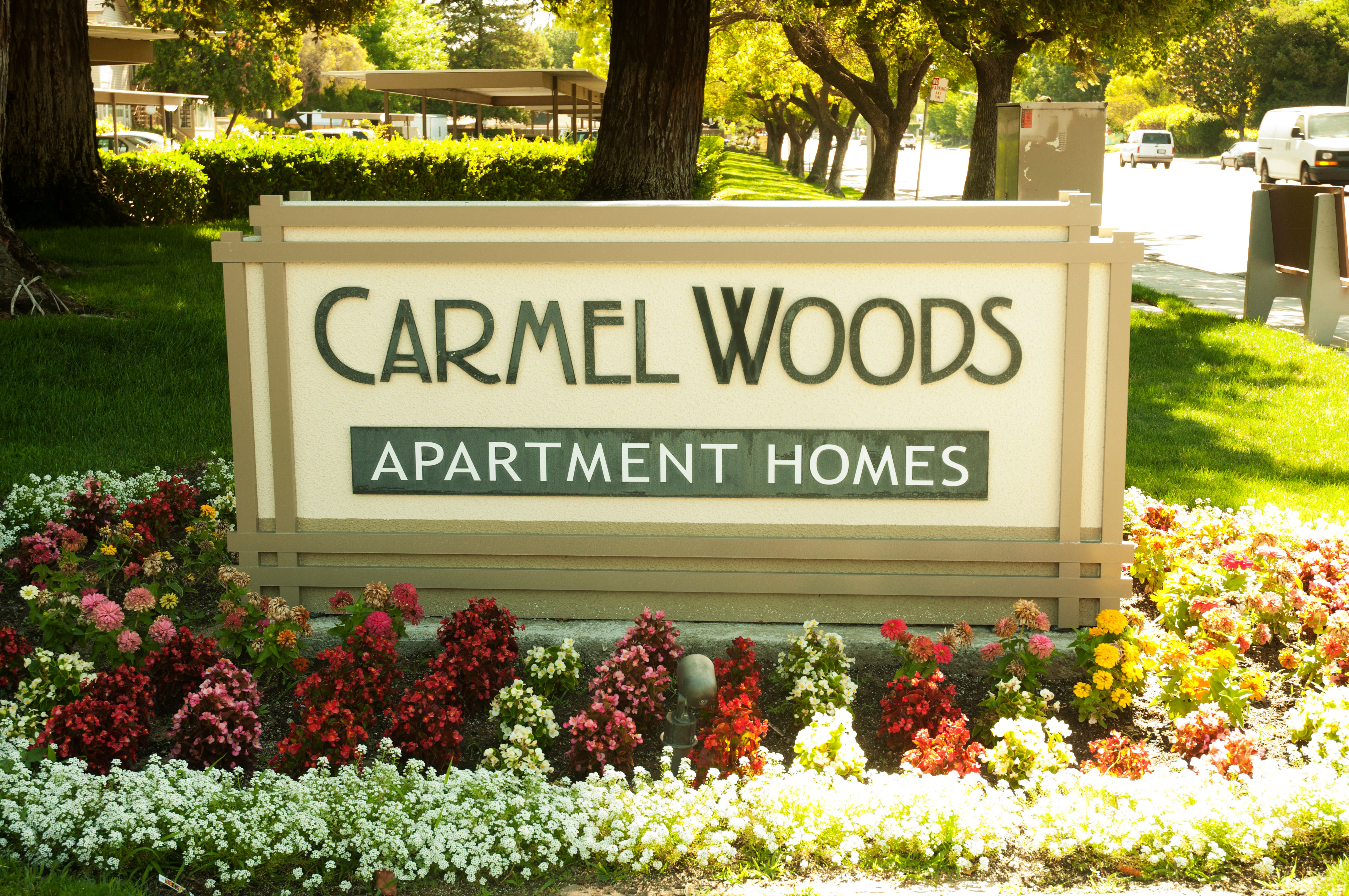 Front Sign at Carmel Woods in Modesto, California