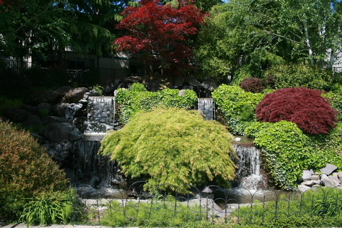 Beautiful artificial cascade at Cascade Park in Vancouver, Washington