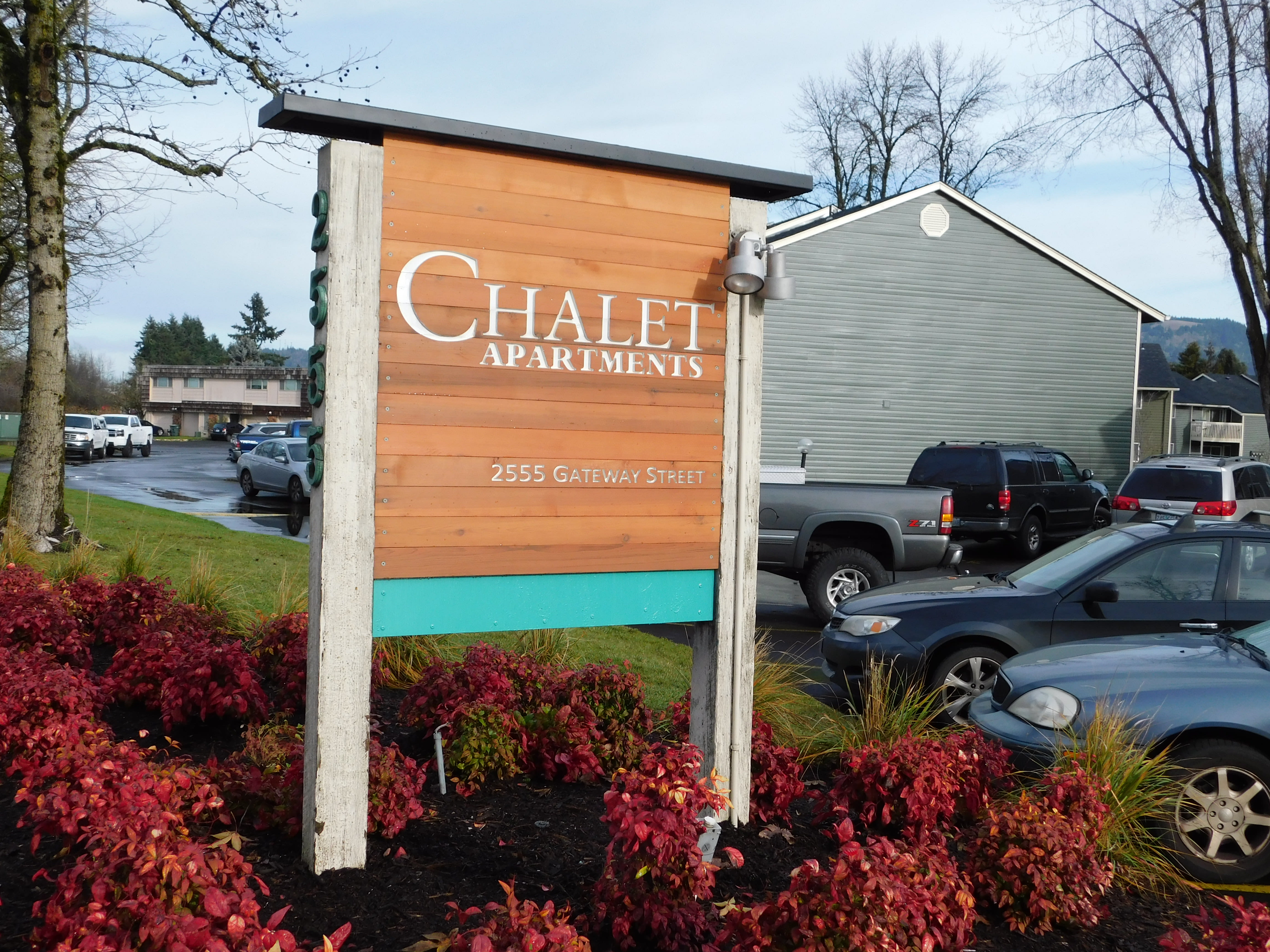 Front sign of Chalet in Springfield, Oregon